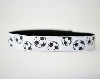 "No-Slip Headband Soccer Printed Grosgrain 3/8"" or 7/8"""