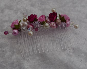 Pink beaded hair comb made with  pearls, crystals and paper roses.