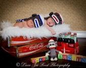 Crochet Sock Monkey Hat - Twin Sock Monkey Hat Set - Baby Crochet Hat - Sock Monkey - Photo Prop