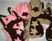 Hand crocheted cowboy/girl costume/photo prop to fit 12/18 month old