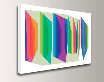 """Mid Century Modern - Colorful Canvas Print  - Bright Rainbow Colors - Abstract Wall Decor - """" Fractions """""""