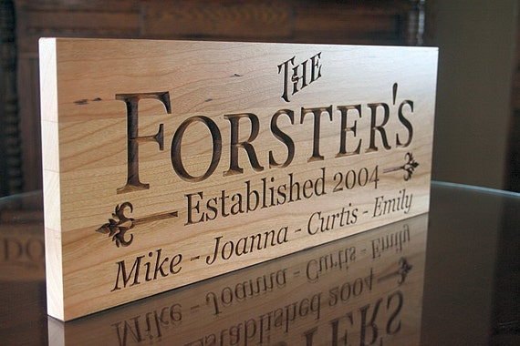Personalized Signs: Family Name Anniversary Carved Wood Sign Custom Wood Signs Man Cave Established Date Cherry 11x28 FB