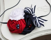 Navy Blue, Red and White headbands, 4th of july headbands, fourth of july headbands, satin headband, newborn headbands, photography prop