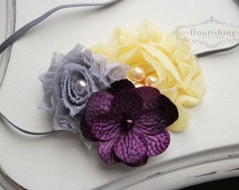 Grey, Yellow and Purple headband, grey headbands, newborn headbands, flower headbands, chiffon headbands, photography prop