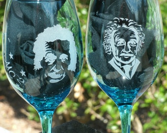 Set of two Etched Blue Wine Glasses Quote of Albert Einstein