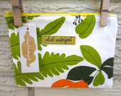 Vintage Vera Napkin Upcycled Zipper Bag, Orange, Green, Yellow Fern, Flower Spring, Black Friday/Cyber Monday/Free Shipping /Gifts under 25