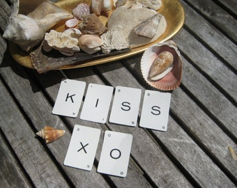 "KISS & ""XO"" Vintage alphabet cards"