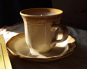 Unscented Tea Cup Candle with Saucer