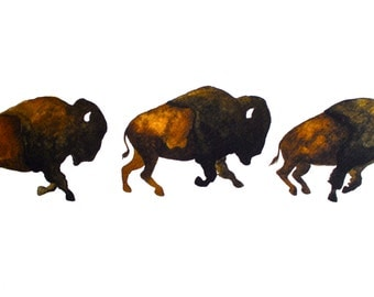 Buffalo Art Painting - Archival Print - Bison Run
