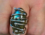On Sale, Limited Time - Bold Sterling Silver Labradorite Statement Ring