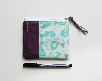 small zippered bag - mint birds and eggplant purple - lined bag with metal zipper - coin purse, purse organizer, makeup bag