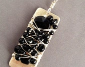 Contemporary Hand Cut Matte Silver Pendant with Genuine Black Onyx with Sterling Chain