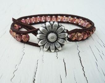 Pink Leather Wrap Bracelet, Pink Daisy Beaded Bracelet, Daisy Bracelet, Boho Bracelet, Bohemian Jewelry, Daisy Jewelry, Leather Bracelet