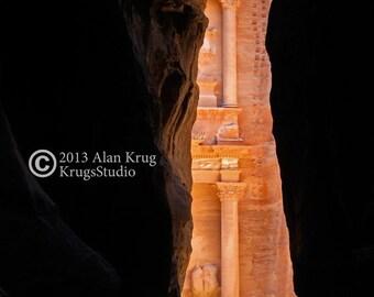 THE TREASURY, PETRA -  Original Fine Art  Photograph of Petra, Jordan The mysterious city of the Nabateans