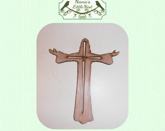 Out Stretched Arms Cross Wood Cut Out
