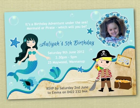 Mermaid & Pirate Birthday Invitations - You Print