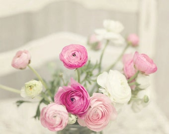 Flower Photography - Pink & White Ranunculus Flowers - French Flowers - Nature - Fine Art Photography Print - Pink White Home Decor