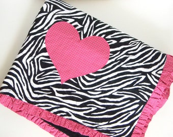 Quilted Zebra with Pink Heart Minky Baby Girl Blanket