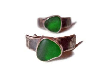 SALE.Sea Glass Silver Pin- Earrings. Beautifully packaged small sterling silver earrings. Genuine, green sea-glass.100% handmade.