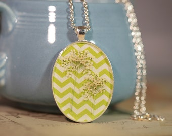 Pressed Flower Botanical Necklace in Resin on Chevron Print