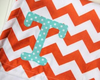 Orange Chevron Baby Blanket with Monogram, Orange and Aqua Baby Blanket