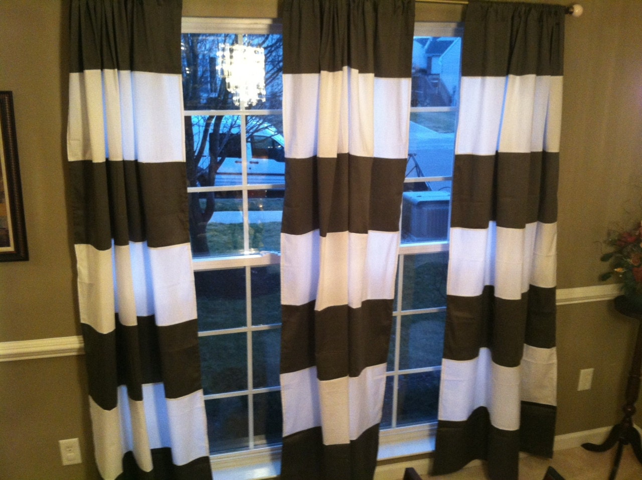 Horizontal Stripe Window Panel Curtain Drape