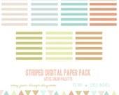 Instant Download Striped Digital Paper Pack, paper crafts,card making, scrapbooking, website, blog background