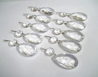 "Excellent Quality Chandelier Crystal 1 1/2"" Teardrops Lot of TEN (10) 1.5"" Chandelier Crystal Prism Tear Drops Wedding Decor Jewelry Supply"