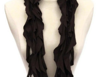Twirly Curly Dark Chocolate Brown Upcycled Recyceld Repurposed T-shirt Scarf