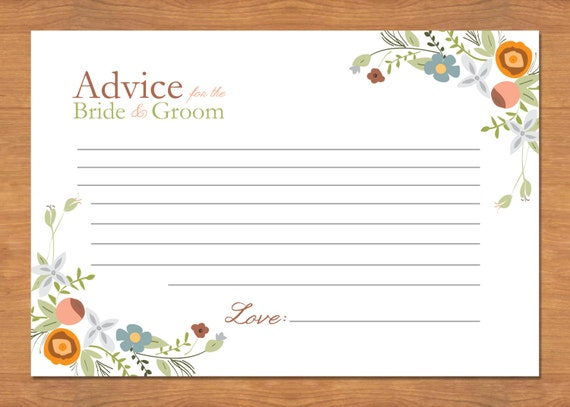 bridal shower advice cards template - items similar to floral wedding advice cards on etsy