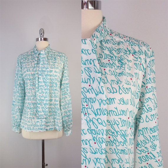 vintage LANVIN blouse / 1970s / french / printed / buttoned up and bow tied