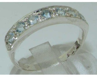 Solid 925 Sterling Silver  Natural Aquamarine Half Eternity Ring, English Classic Design 7 Stone Band - Customizable