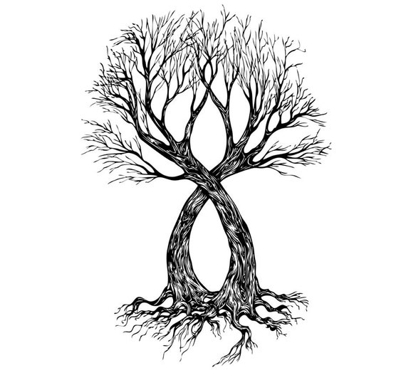 Two Become One Decorative Trees: Two Bare Trees Wall Decal Vinyl Decor Art Modern Removable