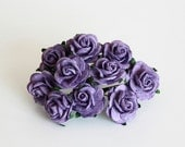 50 pcs - Lavender paper rose / 2cm roses / mulberry paper roses / wholesale pack