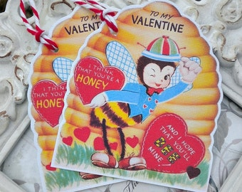Honey Bee Valentine Gift Tags (6) Valentine Favor Tags-Valentine Treat Tags-Classroom Valentine-Kids Valentine Cards-Retro Valentine Card