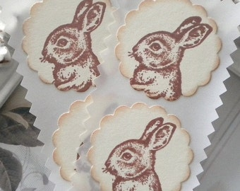 Bunny Stickers (12) - Bunny Seals-Bunny Labels-Favor Stickers-Easter Labels-Shabby Bunny Sticker-Bunny Baby Shower-Easter Stickers