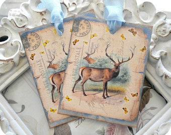 Deer Gift Tags (Style 6) Set of 6 - Rustic Gift Tags-Groomsmen Gift Tag-Tags for Men-Father's Day Tag-Woodland Party Tags-Vintage Style Tags