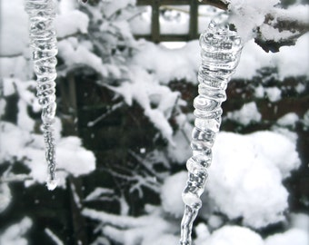 Christmas Ornament Set of TEN Glass Icicles, Holiday Decoration, Natural Icicles, Hand Blown Glass, Ice Tree Ornaments