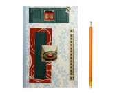 Lined Journal with Turquoise & Deep Burnt Orange - Anthropologie India Style -  5 in by 7 in with 80 lined sheets