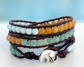 Java... Leather wrap bracelet... Beaded Triple Wrap Bracelet. Original OceanBead Style.
