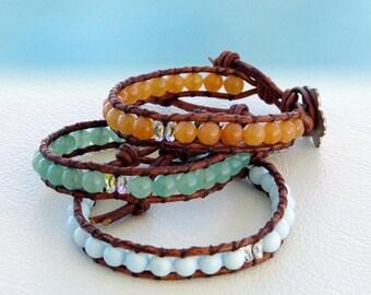 Cute Butterfly... Leather wrap bracelet... Original OceanBead Style.