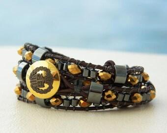 Angel's Share... Leather wrap bracelet... a golden Whisky colour triple wrap bracelet. Original OceanBead style.
