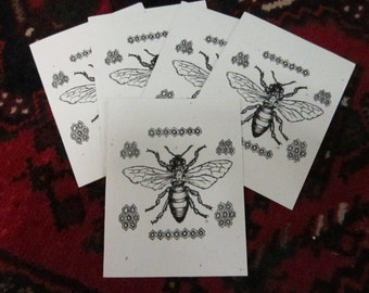 Peace Bee With You. Set of 5 Honeybee-Inspired Notecards