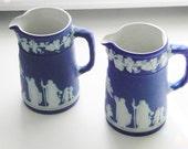 2 Vintage Cobalt Blue Jasperware Jugs Ewers, Wedgwood 1936