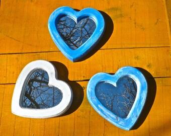 Heart Mirrors Set, Boho Chic, Bohemian, Blue Mirrors, Rustic, Primitive, THREE Mirrors, White Mirror, Painted Mirrors, Wall Hanging