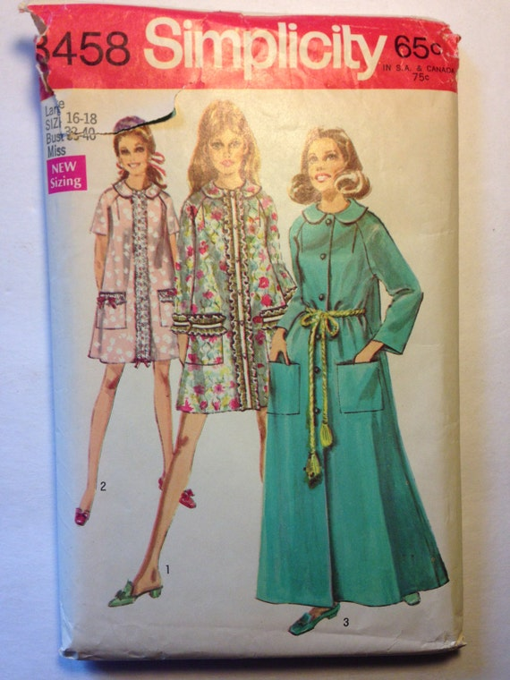 Simplicity 60s Sewing Pattern 8458 Misses and Womens Robe in Two Lengths Size 16-18 Sale