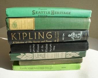 Vintage Mint Green and Black Decorator Books