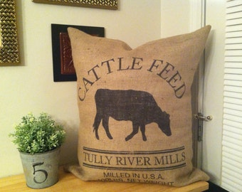 French cattle feed burlap grain sack pillow cover large