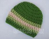 Newborn Baby Hat, Green Baby Boy Hat, Crochet Baby Beanie