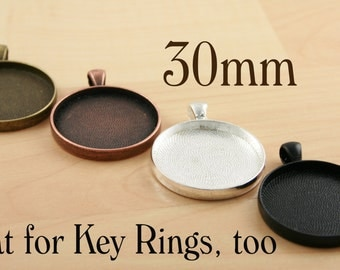 40 Large Pendant Trays 30mm - Silver, Antique Copper, Bronze, New Black. Optional Glass (40), Adhesive Seals (40 or 80), Vintage Chains (40)